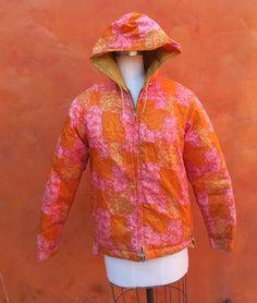Items similar to Vintage Women's Mid Century Mod Pink Orange Yellow Winter Parka. Reversible on Etsy Winter Parka, Orange Yellow, 1960s, Vintage Ladies, Mid Century, Jacket, Trending Outfits, Coat, Pink