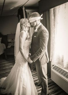This blindfolded groom is going to have to wait to see his beautiful bride…
