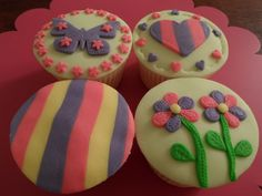 Kids cupcakes -girls cupcake designs with lots of pretty pastels. Madhatterpartyfood.co.uk