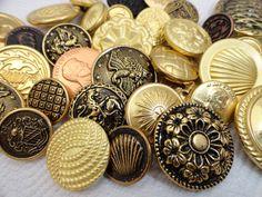 50 Vintage Metal Buttons -  Gold Button Destash - SALE Buy 5 Bags Get 1 Free