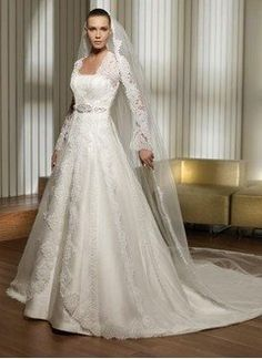 A-Line/Princess Strapless Cathedral Train Satin Tulle Wedding Dress With Lace…