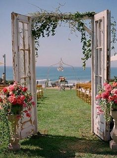 New backyard wedding decorations ceremony backdrop vintage doors 16 ideas Wedding Arbors, Wedding Ceremony Backdrop, Wedding Backdrops, Wedding Venues, Outdoor Ceremony, Arbors For Weddings, Wedding Archways, Wedding Reception, Wedding Rings