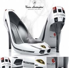 For the fans of high speeds is the next pair of shoes with an elegant high heel. Lamborghini followed the example of Opel in order to make an amazing advertisement to the fair gender. These shoes are amazing and very suitable for semi-official sports apparel.
