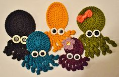 Basic Crochet Octopus Applique Pattern      I made these little guys a couple of months ago. Meet Ollie, Violet, Inky, Squish, and Coral.   ...