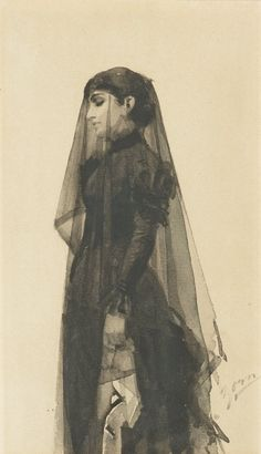 "Anders Zorn, ""La Veuve."" I am unfamiliar with this drawing. It shows the artist's skill in creating a mood as well as reflecting his command of his medium."