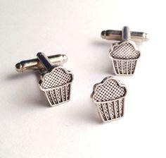 Men's New Silver Muffin Cufflinks Tie Tack, Cupcake Pastry Cuff Links Set, Baker #Handmade