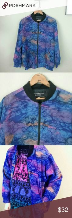 Vintage silk tie dye bomber jacket I scored this cool tie dye bomber jacket yesterday! Vintage 80s 90s  100% Silk fabric Drool worthy 😜 Sunrise label Size: Small (fits larger like a large or med) Unisex style Model is a small & 5'6 Bust/chest: 44 in Waist: 36 in Length: 26 in Sleeves: 22 in  Excellent quality & condition is pristine  Gorgeous hues or blue, purple & pink  I might keep if it doesn't sell 😬 Pair this gem with anything & look rare AF Vintage Jackets & Coats