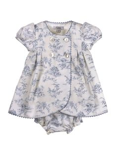 "Yogurtcu ""blue and white toile baby dress"", ""Love the fabric!"", ""Is there a CC pattern for something like this?"", ""I have some purple toile! Baby Kids Clothes, Baby & Toddler Clothing, Toddler Outfits, Doll Clothes, Kids Outfits, Baby Dress Design, Frock Design, Little Dresses, Little Girl Dresses"