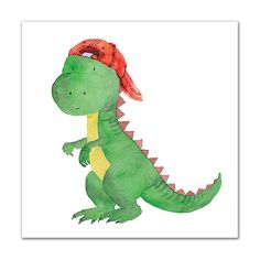 Liven up your little one's room with the playful design of the Cool Baby Dinosaur Canvas Wall Art from Designs Direct. Ready to hang for ultimate convenience, this artwork showcases a whimsical dinosaur featuring archival pigment-based inks. Dinosaur Crafts, Dinosaur Art, Cute Dinosaur, Art Wall Kids, Art For Kids, Dinosaur Drawing, Baby Dinosaurs, Guache, Square Canvas