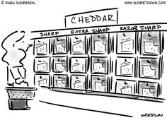 (Woman shopping for cheese in grocery store sees 'Sharp,' 'Extra Sharp,' and 'Razor Sharp.')