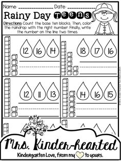 Spring Math & Literacy Worksheets. Teen number practice for Kindergarten! Students count the base ten blocks, color the raindrop with the right number and write the teen number. Lots of great practice for those tricky teens!