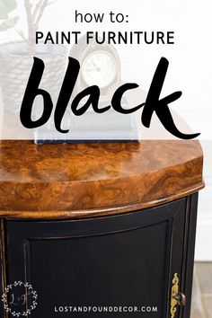 Painting furniture black can be a bit tricky! Learn all the tips for how to paint furniture black and get the look you want. Black Painted Furniture, White Washed Furniture, Chalk Paint Furniture, Painted Dressers, Furniture Refinishing, Refurbished Furniture, Wood Furniture, Vintage Furniture, Furniture Design