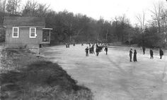We see a circa 1900 winter scene on Lake Lenape from the Sellersville side, looking toward Perkasie. Originally a postcard, the image shows ice skaters on the frozen Branch Creek. The structure to the left was most likely a boat house belonging to Menlo Park. Note the short dock at the edge of the shoreline Menlo's Toboggan and Intermural Railroad, a roller coaster-like ride constructed in 1894, is in the center background.