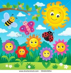 Happy flowers topic image 4 - Buy this stock vector and explore similar vectors at Adobe Stock Space Crafts For Kids, Art For Kids, Art Drawings For Kids, Drawing For Kids, Farm Cartoon, Monkey Crafts, Spring Coloring Pages, Wall Painting Decor, Ladybug Crafts
