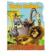 Madagascar Pack of 8 Invitations