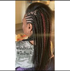 Half feedin w/design &half box braids Lets Enhance Your Crown Dm me for booking Or contact me at 3109184474 Feeder Braids, Braid Styles, Protective Styles, Box Braids, Black Girl Magic, Natural Hair Styles, Dreadlocks, Crown, Beauty