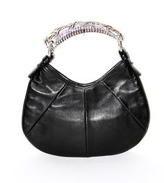 Pre-owned bag. Black leather and silver-tone top handle strap. Mombasa, Signature Style, Mini Bag, Yves Saint Laurent, Black Leather, Handle, Brand New, Amazing, Silver