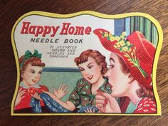 Near Mint!  Vintage 1950s Happy Home Needle Book with Threader - Sewing, Ephemera
