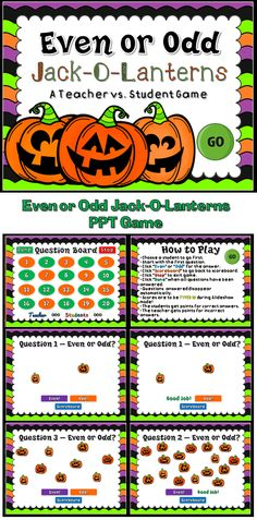 Practice identifying even and odd numbers with this fun Jack-O-Lanterns Even or Odd Game. Students are to count the Jack-O-Lanterns and then determine whether or not that number is even or odd by clicking the right word. This is a teacher vs student game (see description below) so your student will love competing against you. Put candy on the line and watch them work!
