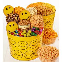 Smiley face popcorn and snack gift baskets
