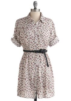 Casual Get-Together Dress - White, Multi, Green, Purple, Pink, Black, Floral, Braided, Buttons, Casual, Short Sleeves, Spring, Summer, Sack, Shirt Dress, Short