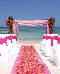 Pink Beach Wedding ideas sooo goin to be my wedding(: Beach Ceremony, Wedding Ceremony, Our Wedding, Dream Wedding, Wedding Arches, Wedding Spot, Wedding Stuff, Wedding Altars, Ceremony Arch