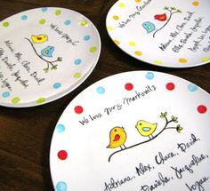 Been searching for a 'celebration' plate for our family to use - either too expensive or I dont like the design! Just remembered I can just make my own, with blank plate/sharpies/baking - so excited to do this!