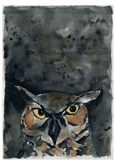 Night Owl is an art print of my original watercolor painting (the original was sold) . Owl head on black cloudy.night sky  *Matt and frame not included. * Water mark will not appear on print. Measures: Image 11 X 15.1 (28 X 38.5.cm) Paper size 16.5 x 11.2 (42 x 29.7 cm) Colors: Black, Brown, yellow, rust, Grey Orientation: portrait (vertical) *If you like this print but prefer it in other size look here: https://www.etsy.com/shop/TheJoyofColor?section_id=11130266  Shipping: I ship a day till…