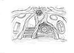 Concept sketch for fairy-themed playhouse interior.