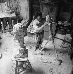 Alberto Giacometti at work in his studio