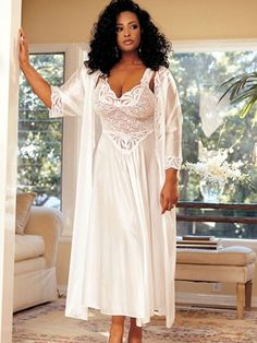 Plus Size Lingerie | Plus Size Robes |  i love this because its classy and looks perfect for the day after your wedding. something to sit in for breakfast