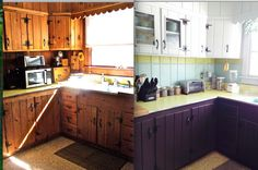 Painted knotty pine kitchen. Clean and fresh now!