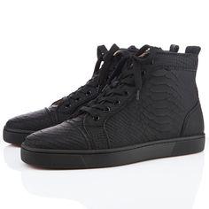 Christian Louboutin Louis Men's Flat Python Sneakers Black