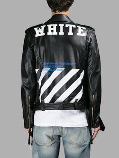 レザーアウター OFF WHITE C/O VIRGIL ABLOH MEN'S BLACK BLUE COLLAR LEATHER JACKET | OFF-WHITE C/O VIRGIL ABLOH オフ・ホワイト | メンズ - アウター - レザー | BLACK | 海外通販ならLASO(ラソ)