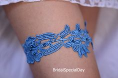 Bridal Garter Set Blue Wedding Garter Lace by BridalSpecialDay