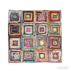 Recycled Colorwrap Trivet  Artisans in Vietnam create this colorful trivet out of recycled magazine pages. Fabric backing. 8 in. sq. From the SERRV.org web site. Made by Mai Handcrafts which was started by two social workers who were concerned about improving the lives of street children and single mothers in Ho Chi Minh