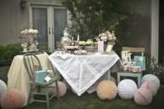 One of the best gifts to a marrying relative or friend is throwing a bridal shower tea party for her. Learn how to prepare bridal shower tea party. Vintage High Tea, Vintage Party, Vintage Bridal, Vintage Birthday, Vintage Circus, Vintage Weddings, Vintage Table, Vintage Wood, French Vintage