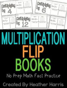 Who says flash cards are the only way to practice multiplication?Get your students working on their multiplication facts with these flip books. Great for visual and hands-on learners.Each book has ___x 2 all the way up to ___x 12.Students fill in the equation, show an array, equal groups and repeated addition.