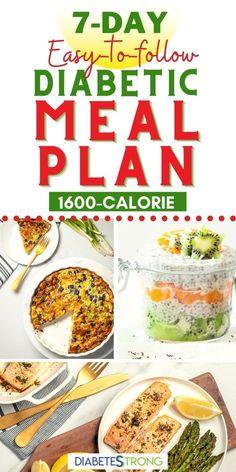 7 -Day Diabetes Meal Plan (with Printable Grocery List) Diabetic Menu Plans, Pre Diabetic Diet Plan, Easy Diabetic Meals, Healthy Recipes For Diabetics, Diabetic Snacks, Diet Recipes, Diabetic Friendly, Diabetic Food List, Meal Plan For Diabetics