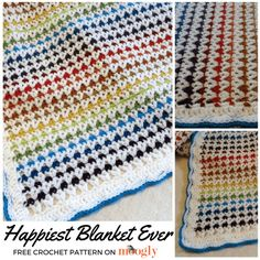 This is the Happiest Blanket Ever! Or at least the happiest blanket I've ever made. It was fun to make, and puts a smile on my face every time I look at it – I hope it does the same for you! Disclaimer: This post includes affiliate links. Baby Afghan Crochet, Crochet Quilt, Manta Crochet, Crochet Blankets, Baby Blankets, Motifs Afghans, Crochet Stitches Patterns, Afghan Crochet Patterns, Scrap Yarn Crochet