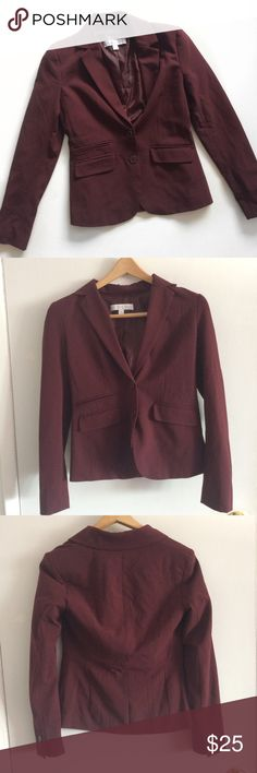 "New York & Company Burgundy Blazer New York & Company Burgundy Blazer with shoulder pads in very good condition. Great to wear for business professional or with jeans for a smart casual look. Measurements laying flat (approx):    *17""in chest    *22""in length    *24""in sleeve Materials:    *Shell 64% Polyester, 32% Rayon,       4% Spandex    *Lining: 100% Polyester New York & Company Jackets & Coats Blazers"