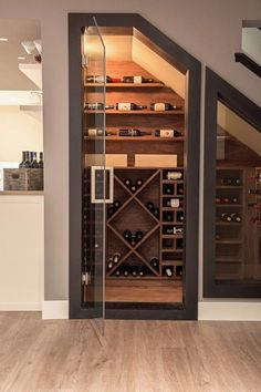 Cellar Wine Cellar Ideas Wine Cellar Modern with Wine Room Ho .- Keller Weinkeller Ideen Weinkeller Modern mit Wein Zimmer Holz-Fußboden-Glas-T… Cellar wine cellar ideas wine cellar modern with wine room wood-floor-glass-door - Under Stairs Wine Cellar, Wine Cellar Basement, Home Wine Cellars, Plywood Shelves, Wine Cellar Design, Wine Cellar Modern, Glass Wine Cellar, Basement Renovations, Basement Ideas