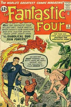 Fantastic Four (Marvel, Condition: GD-. Sub-Mariner and Dr. Doom are featured in the first Marvel - Available at Sunday Internet Comics Auction. Marvel Comics, Old Comics, Marvel Comic Books, Vintage Comics, Comic Books Art, Marvel Villains, Univers Marvel, Jack Kirby, Stan Lee