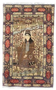 KASHAN 'MOHTASHAM' PICTORIAL RUG  CENTRAL PERSIA, CIRCA 1910  Depicting the dervish Nur 'Ali Shah, one corner and the selvages frayed in places, otherwise very good condition 6ft.8in. x 4ft.3in. (204cm. x 130cm.)