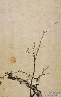 【 清 弘仁 《梅花图》 】 此画仅绘梅花一枝,梅花几朵,老枝虬曲,画面简约却丝毫不影响其表现力。纸本墨笔,安徽省博物馆藏。