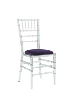 Ice Chair with Purple Seat Pad, is an amazing transparent stackable eco-friendly resin chair, shown here with a Purple seat pad but is also available in various coloured seat pads. http://www.eventhireonline.co.uk/chairs/ice-chair-0