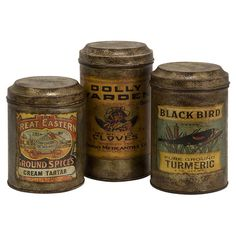 Stow office supplies or kitchen essentials in style with these charming metal canisters, showcasing antiqued label details for a touch of vintage style....43.95