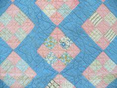 Vintage Handmade Handstitched 9 Patch Pink N Blue Quilt 82x72 | eBay