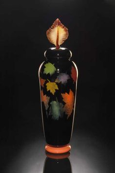 Tall Foliage Vase handblown glass by Bernard Katz. Beautiful