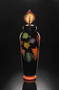 Tall Foliage Vase handblown glass by Bernard Katz. Beautiful